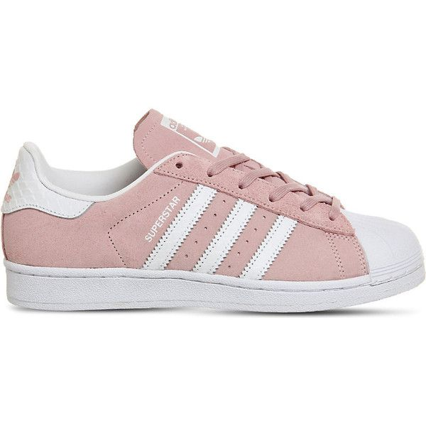 Adidas Superstar 1 suede trainers (£68) ❤ liked on Polyvore featuring shoes, sneakers, adidas shoes, sport sneakers, low profile cap, white sneakers and sports cap
