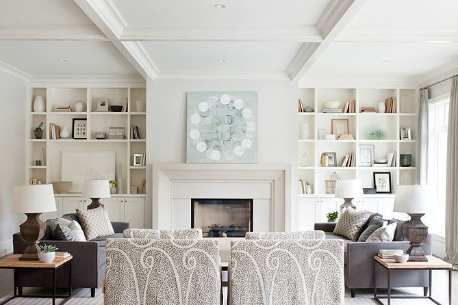 Gray and white family room with built-in shelves next to fireplace (Keith Road project design by Kelly Deck) | kellydeck.com