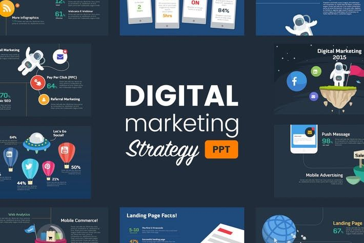 Digital Marketing Strategy  Powerpoint Template #fun #creative  • Download here → http://1.envato.market/c/97450/298927/4662?u=https://elements.envato.com/digital-marketing-strategy-powerpoint-template-TM66YW