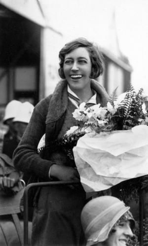 Aviator Amy Johnson after her arrival in Brisbane 1930