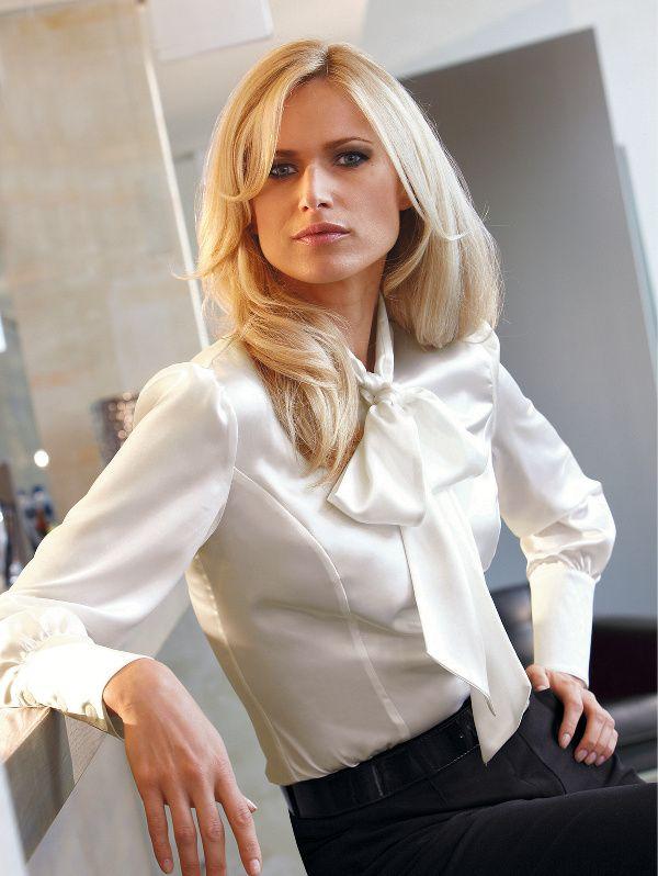 Lady In White Blouse Bow Blouse Pretty Blouses Fashion