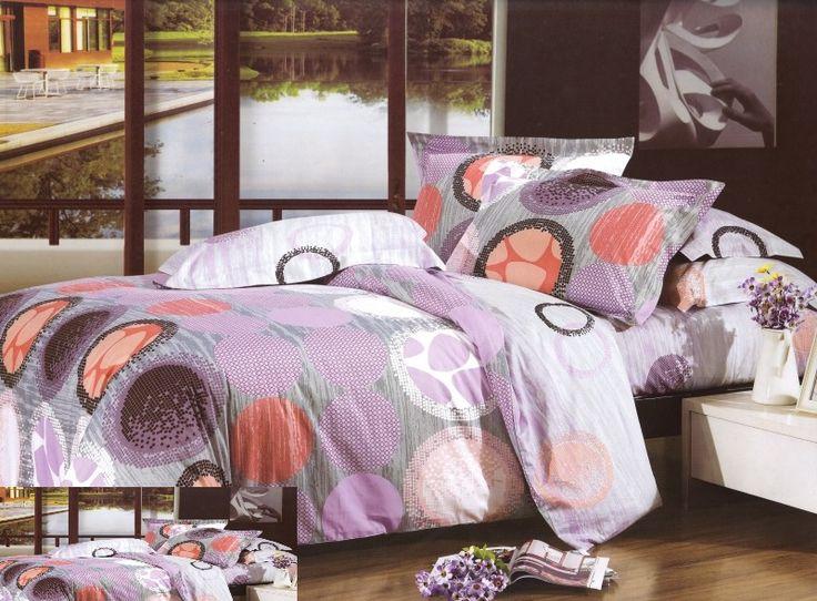Sivo fialová posteľná obliečka s motívom farebných kruhov