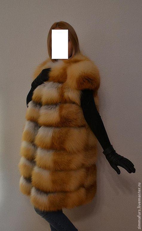 Купить Жилет удлиненный из меха рыжей лисы.С рукавами . Поперечная раскладка. - жилет из лисы