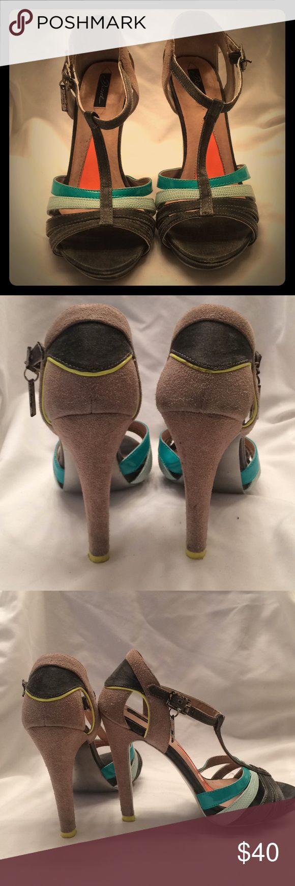 Diesel Heels Grey,aqua,neon t-strap heels Diesel Shoes Heels