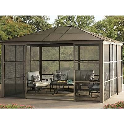 Patio Gazebo Room Tent Shelter Garden House Roof Walls Sun Shade Sliding  Door