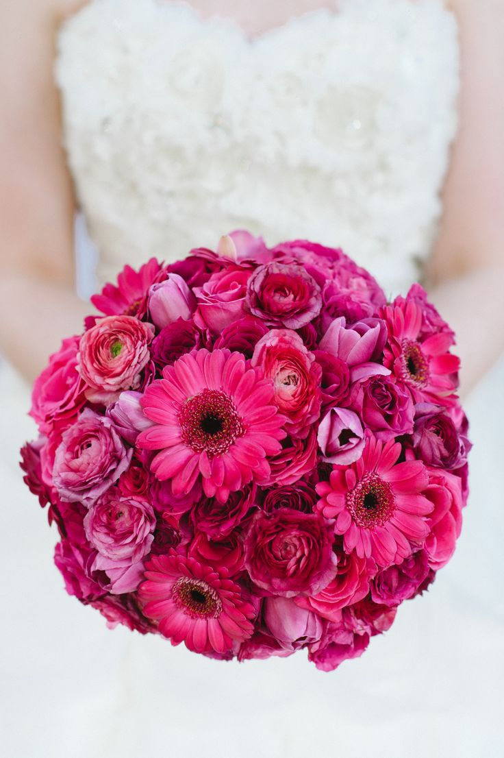 A Hot Pink Gerbera Daisy and Tulip Bridal Bouquet