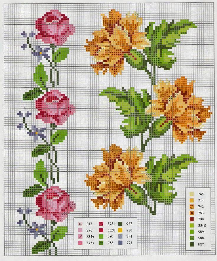 Ponto cruz: Flores Ponto Cruz Mais