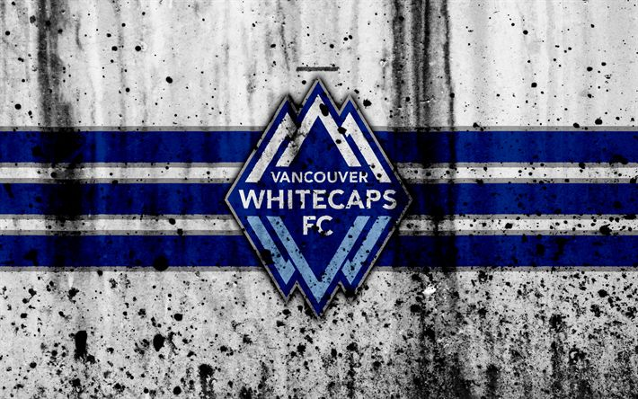 Download wallpapers 4k, FC Vancouver Whitecaps, grunge, MLS, soccer, Western Conference, football club, USA, Vancouver Whitecaps, logo, stone texture, Vancouver Whitecaps FC