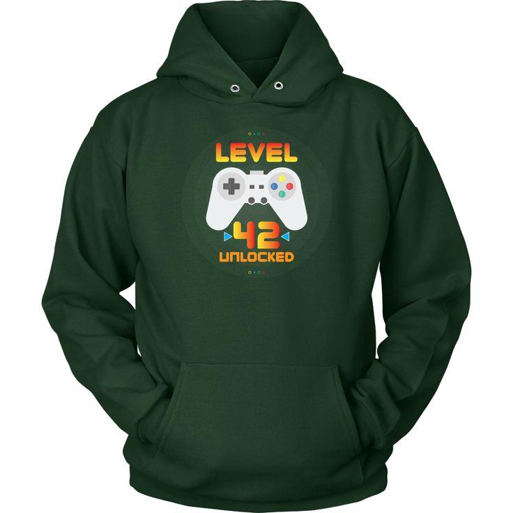 42nd Birthday Gift - Level 42 Unlocked Funny Gamer Hoodie