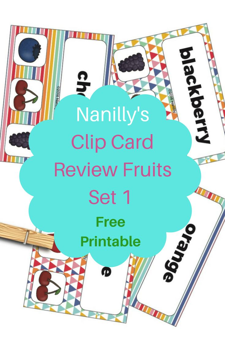 Nanilly\'s Clip Card Review Fruits - Free Printable, perfect for ...