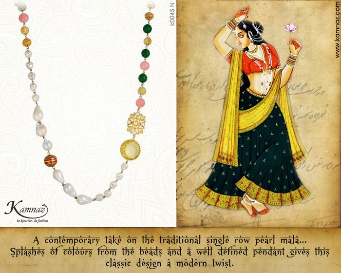 #KamnazJewellery A contemporary take on the traditional single row pearl mala...Splashes of colours from the beads and a well defined pendant gives this classic design a modern twist. #handmadejewellery #jewelry #jewellery #jewellerylovers #jewellerytrends #designerjewellery #indianjewellery