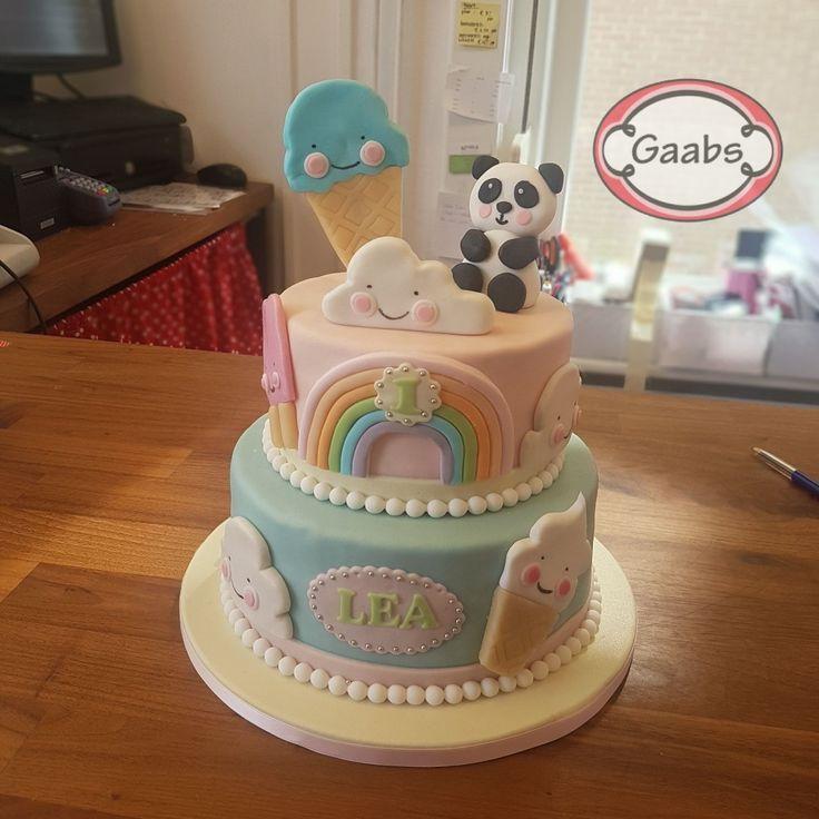 Children's birthdaycake.  Icecream and panda!