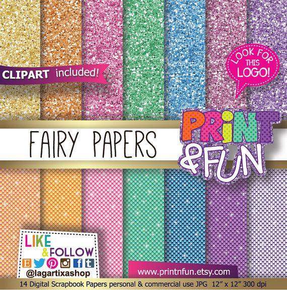 Fairy Digital Paper, fairies backgrounds, clip art, sparkles Patterns, glitter papers, lace, purple, gold, teal, aqua Party Printables