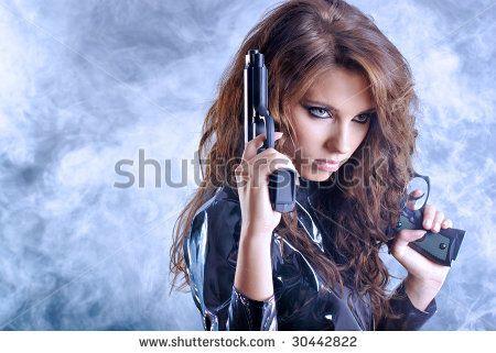 What Smoking Gun >> beautiful sexy girl holding gun . smoke background - stock photo   Projects to Try   Pinterest ...