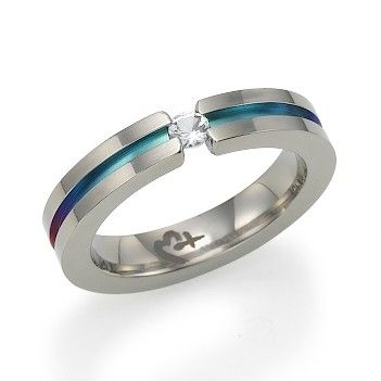 Rainbow Titanium Ring with white sapphire. These rings will be our wedding bands.