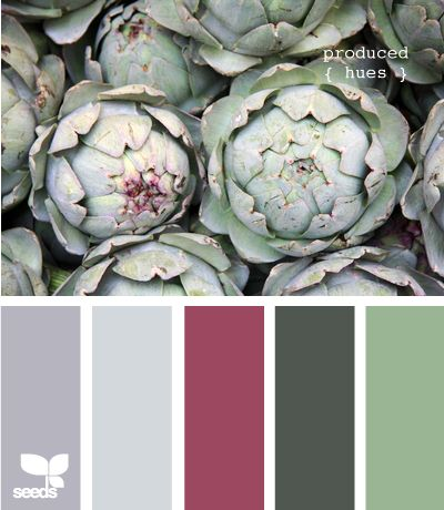 I love this colour combination - greens and greys with a bit of dark rose-pink (or is it red?)