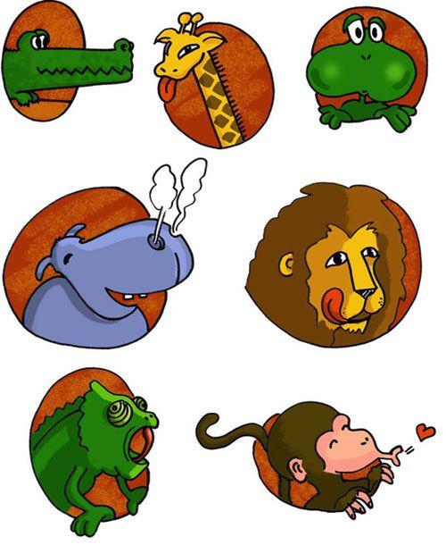 PRAXIES: Caméléon, Croco, Girafe, Hippo, Lion, Grenouille, Singe