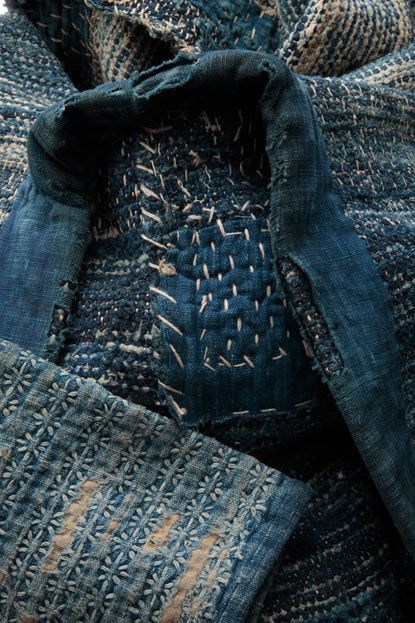 """Sashiko - from the exhibition show, called """"Mottainai: The Fabric of Life, Lessons in Frugality from Traditional Japan,"""" by Kei Kawasaki of Gallery Kei in Kyoto"""