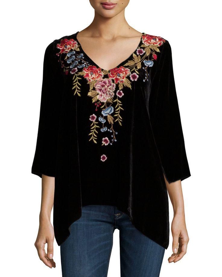 "JWLA for Johnny Was ""Amber"" velvet tunic enriched with floral embroidery. Approx. length: 21""L from shoulder to hem, 30.5""L down center back. V neckline. Three-quarter sleeves. Draped fit. Arched hem."