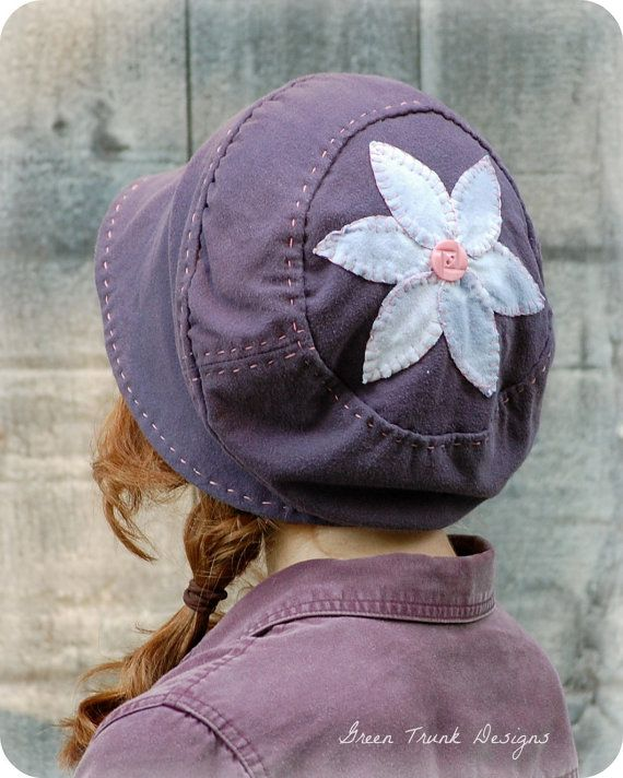 Brimmed Slouch Beanie Hat Purple Recycled T by GreenTrunkDesigns