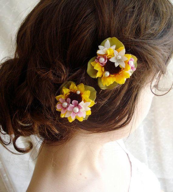 sunflower wedding hair clips ~ flower girls? :)