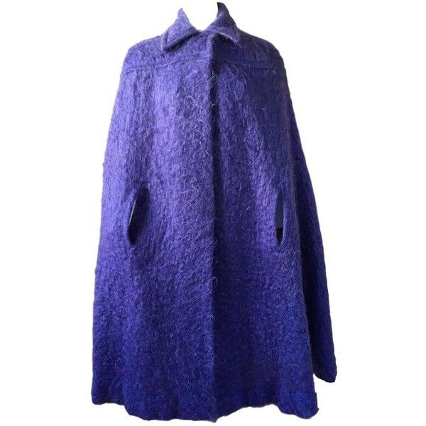 Preowned Vintage Mohair Lavender Purple Cape Cloak 1970s Murray Arbeid ($633) ❤ liked on Polyvore featuring outerwear, 1970s, cape, purple, purple cloak, murray arbeid, blue cloak, vintage cape coat and cape cloak