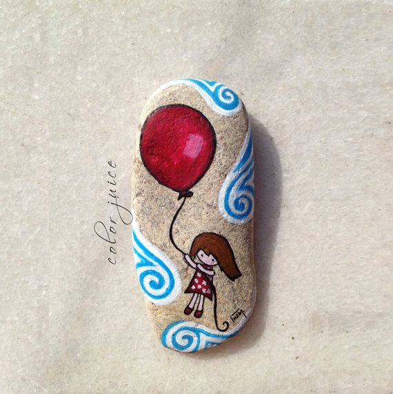 Flying Girl with Red Balloon Painted stone by ColorJuice on Etsy