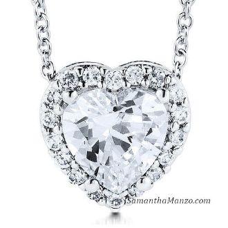 Micro Pave Heart Cut Solitaire CZ Diamond Pendant Necklace Chain