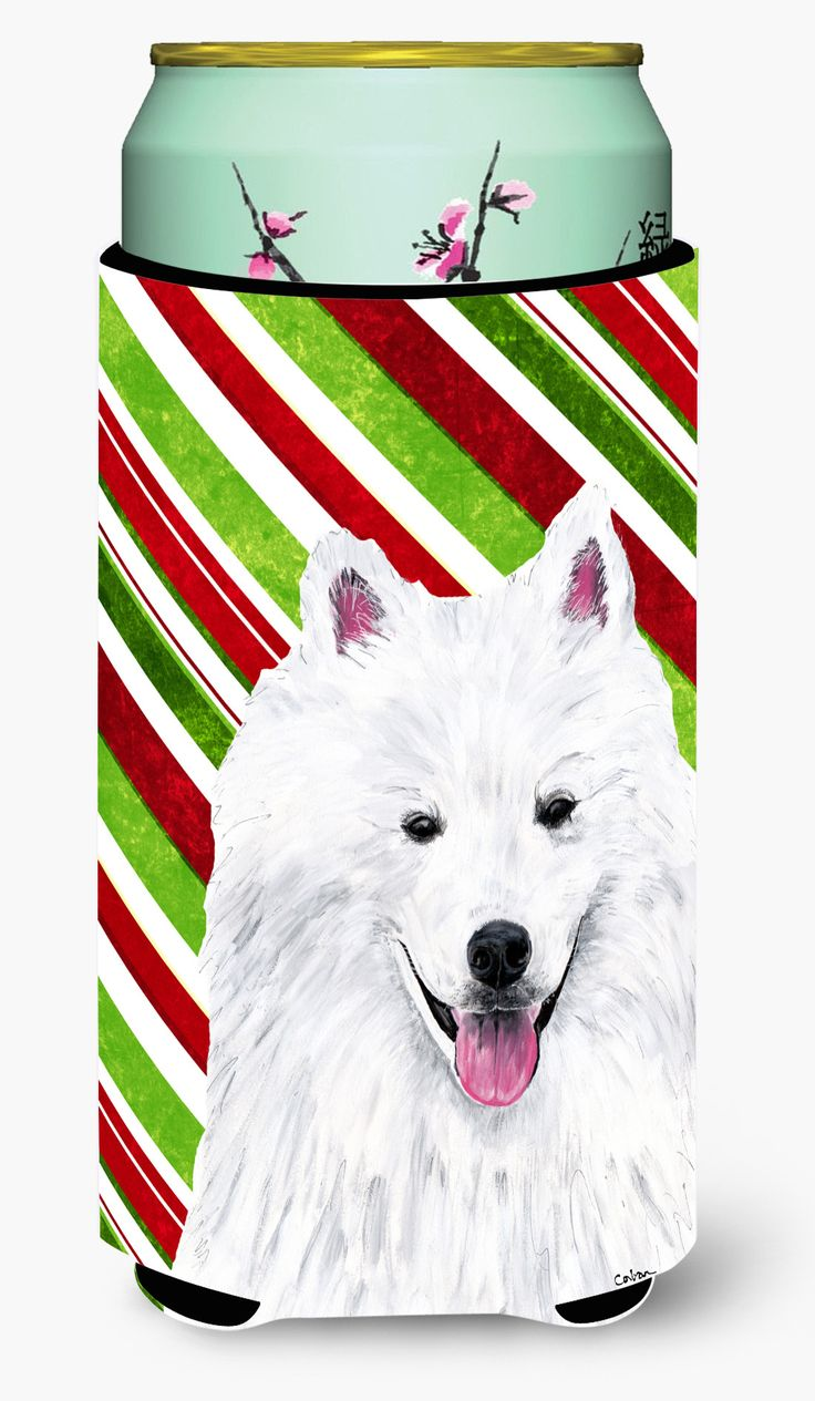 American Eskimo Candy Cane Holiday Christmas Tall Boy Beverage Insulator Beverage Insulator Hugger