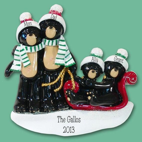 One Of Our Many Family Ornaments This Is Our Black Bear Family Of 4 Origina Personalized Family Ornaments Personalized Christmas Ornaments Family Ornaments