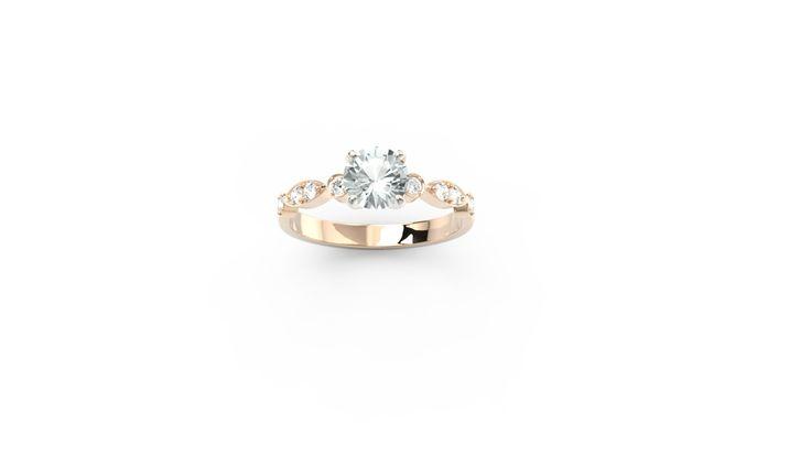 Pierścionek z różowego złota z diamentami / Ring made from gold with diamonds /  #gold #ring #jewellery #gift