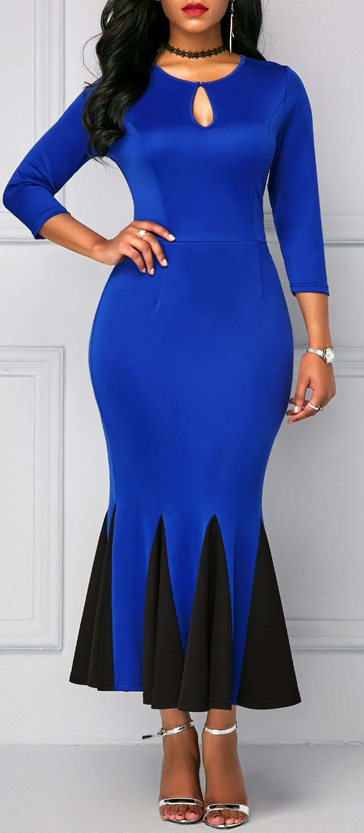 Peplum Hem Keyhole Neckline Royal Blue Dress.