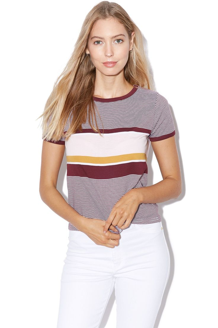 ALL ABOUT EVE Beau Stripe Ringer Burgundy