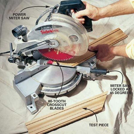 how to cut door trim with a miter saw