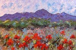 Judith Babcock | Palette Knife Poppy Flower krajinomaľba na začiatku Colorado impresionistické Judith Babcock