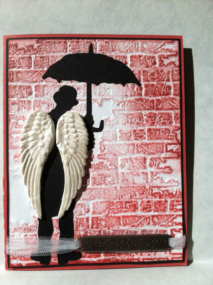 Tim Holtz Umbrella Man inspirational card Cut wings, add silhouette ladies. Brick Stamp and/or embossing folder