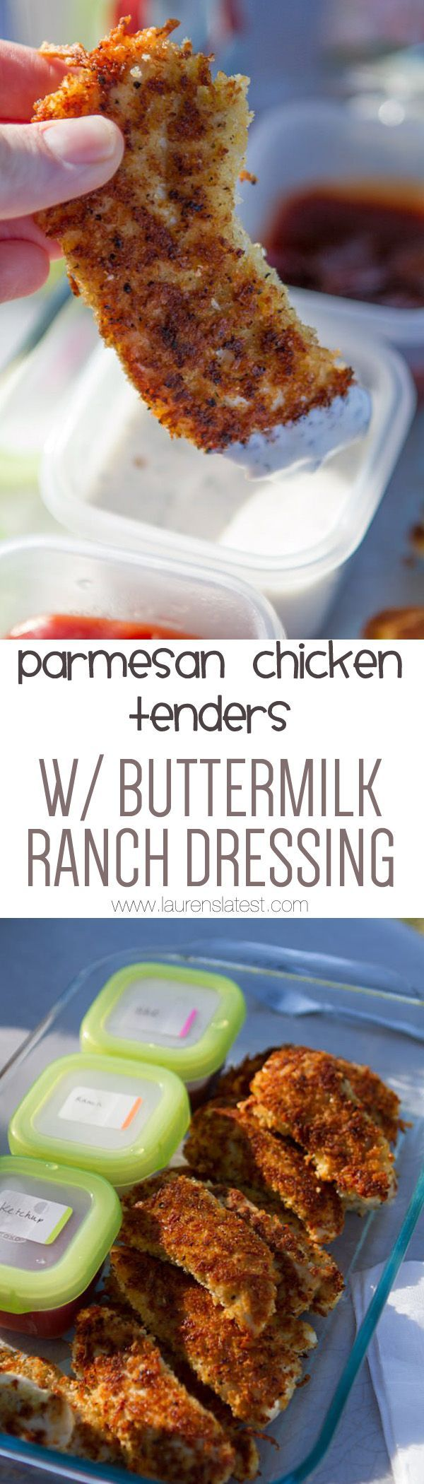 Paremsan Crusted Chicken Tenders w/ Buttermilk Ranch Dressing... You will DIE over how yummy that dressing is!! This is a winner of a dinner!