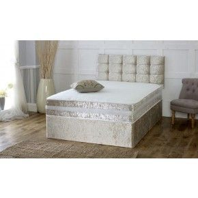 Crushed Velvet Divan Bed with Open Spring Memory Foam Mattress - Luxury Fabric Beds - Beds.co.uk - The Bed Outlet #CheapMemoryFoam