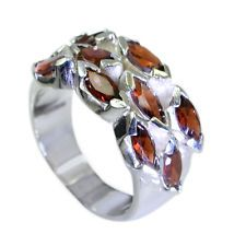 refined Garnet Silver Red Ring handcrafted L-1in US 5678