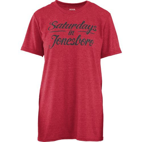 Three Squared Juniors' Arkansas State University Saturday T-shirt (Red, Size Large) - NCAA Licensed Product, NCAA Women's at Academy Sports