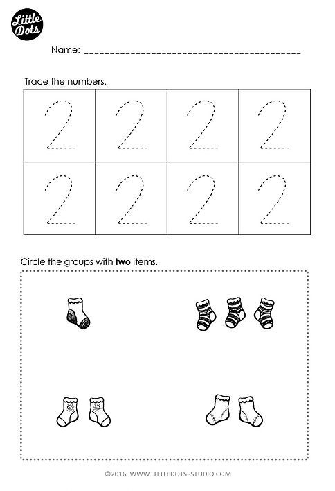 Free number 2 worksheet for pre-k level. Practice to trace and count ...