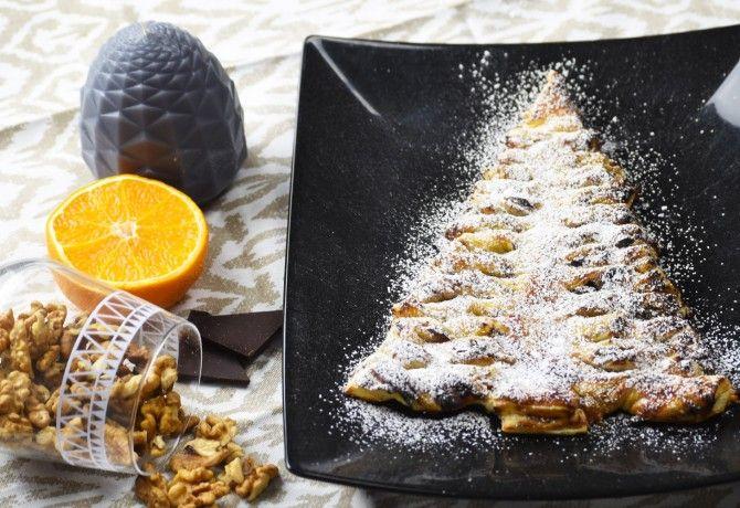 Narancslekváros karácsonyfa leveles tésztából
