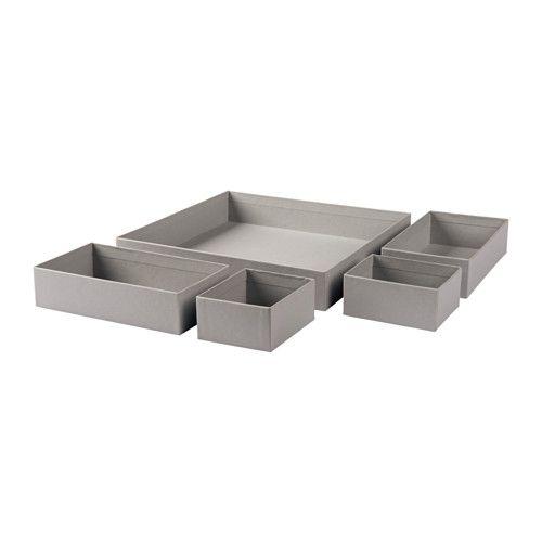 GRÅSIDAN Laatikkosetti, 5 osaa IKEA Laatikot helpottavat pienten esineiden järjestämistä ja säilyttämistä vaikkapa lipastonlaatikoissa.