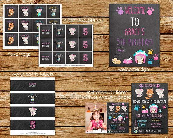 Puppies and Kitties Birthday Party Package   Puppies and Kitties Chalkboard Party Package   Puppies and Kitties Party   Dogs & Cats Invite   Cupcake Toppers, Banner, Favor Tags _________________________________________________________________________  INFO TO INCLUDE when checking out:  1. Wording for invitation 2. Childs Name and Age  *Puppies and Kitties Birthday Party Invitation: https://www.etsy.com/listing/481654986/puppies-and-kitties-birthday-invitation?ga_...