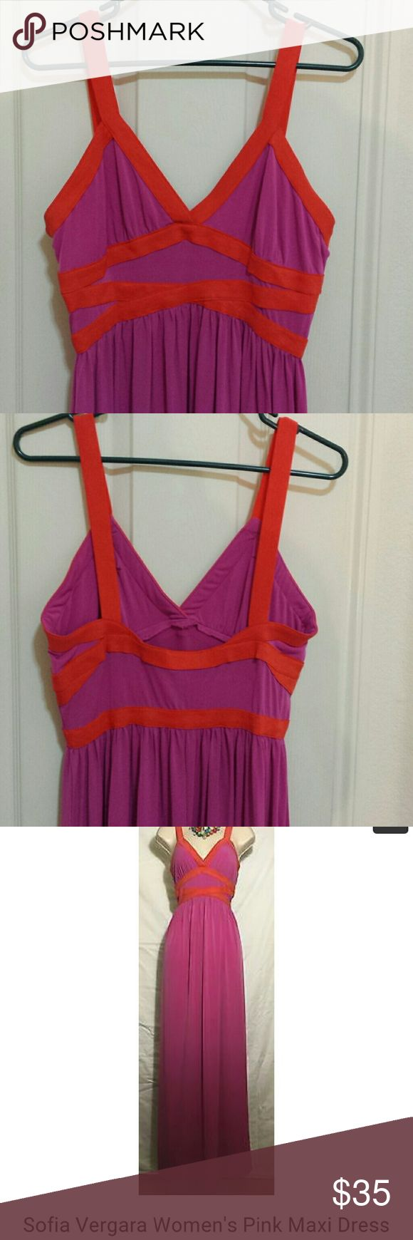 Sofia Vegara Pink Maxi Dress The orange is elastic No stains/snags Only worn once or twice From shoulder to hem is 56 in long Armpit to armpit 17 1/2 in  Bodice is 14 in wide Sofia Vegara Dresses Maxi
