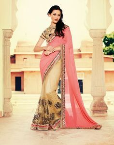 Pink Georgette Half and Half Saree With Blouse 61147