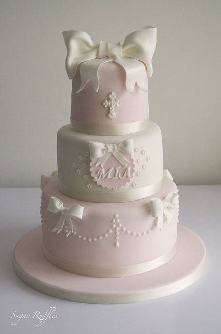 Pink and White Christening Cake - by SugarRuffles @ CakesDecor.com - cake decorating website