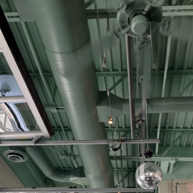 Exposed Ceiling With Ductwork, Corrugated Material Above