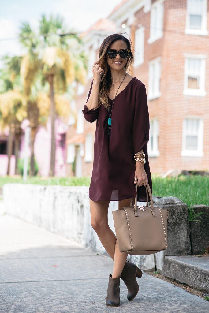 WINE SHIFT DRESS + BOOTIES