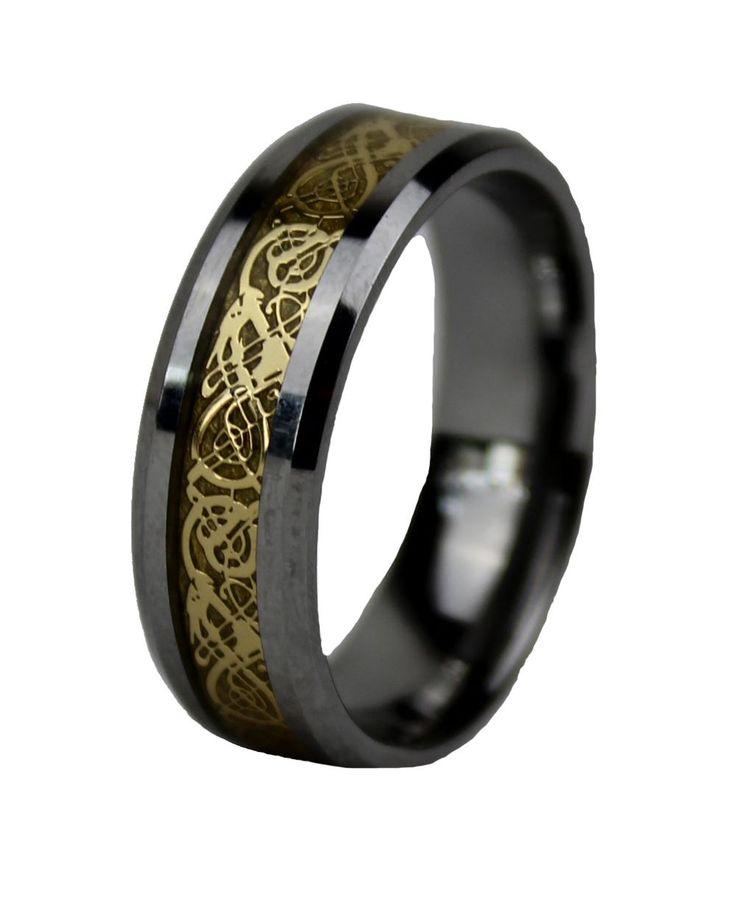 QUEENWISH 8 мм Серебро Золото Кельтский Дракон Из Карбида Вольфрама мужская Обручальное кольцо Кольца Его и Ее Обещания Ювелирные Изделия